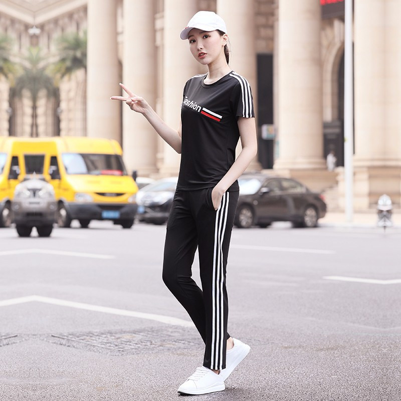 Fitness Suit Men's Casual Sports Duanchang Set WOMEN'S Short Sleeved Trousers Couples Summer Running Training Suit Morning Run S