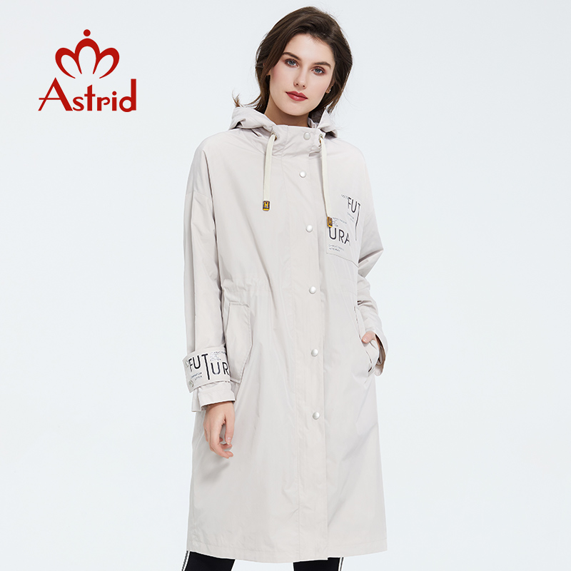 Astrid 2020 New Arrival Spring Young Fashion Long Trench Coat High Quality Female Outwear Casual Jacket  Hooded Thin Coat 9413