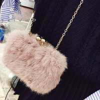 2019 new autumn and winter fashion ladies small square bag fur chain warm shoulder bag wild simple rabbit hair Messenger bag
