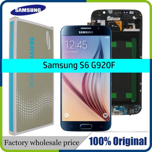 الأصلي 5.1 سوبر AMOLED استبدال LCD S6 لسامسونج غالاكسي S6 G920 SM G920F G920F G920FD مجموعة المحولات الرقمية لشاشة تعمل بلمس