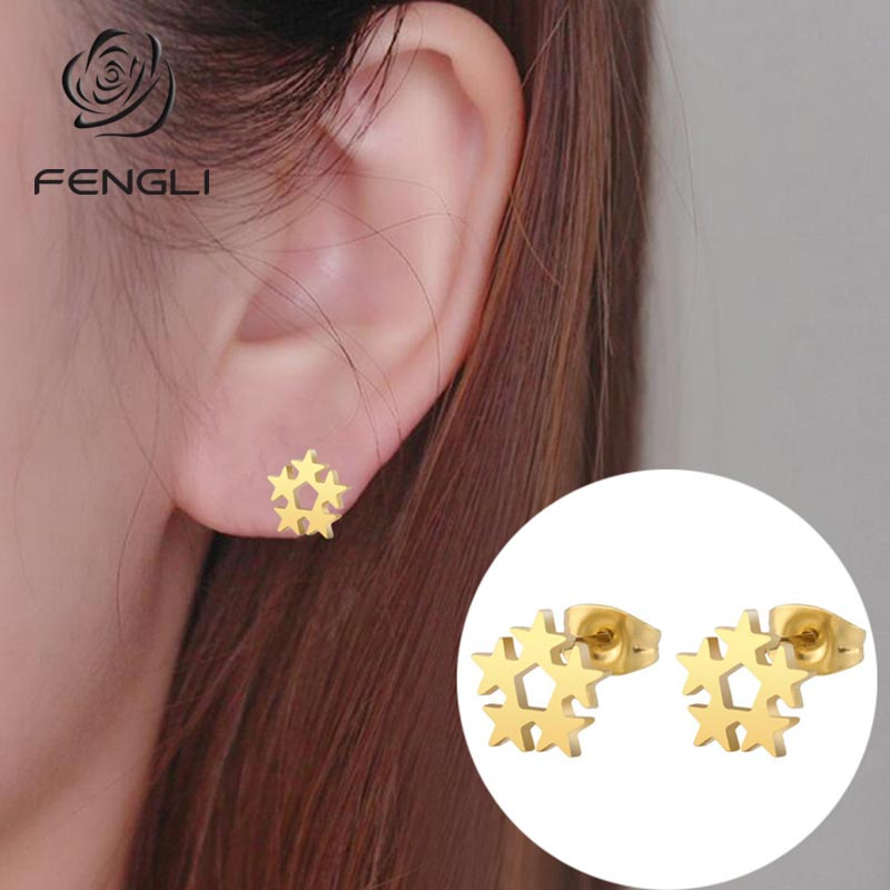 FENGLI Five Star Earrings for Women Geometric Oorbellen Minimalism Simple Stainless Steel Studs Jewlery Accessories
