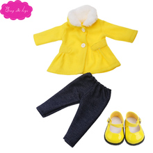 18 inch Girls doll clothes Woolen cloth coat print T-shirt with shoes American newborn dress Baby toys fit 43 cm baby dolls c530