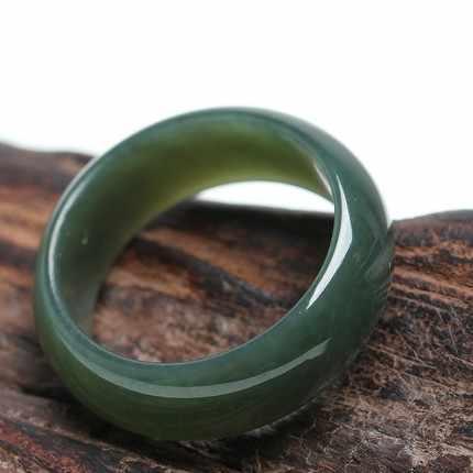 100% ธรรมชาติ hetian หยกแหวนชายหญิงแหวนหยกหยกแหวนของขวัญผู้ชายผู้หญิงหยกแท้