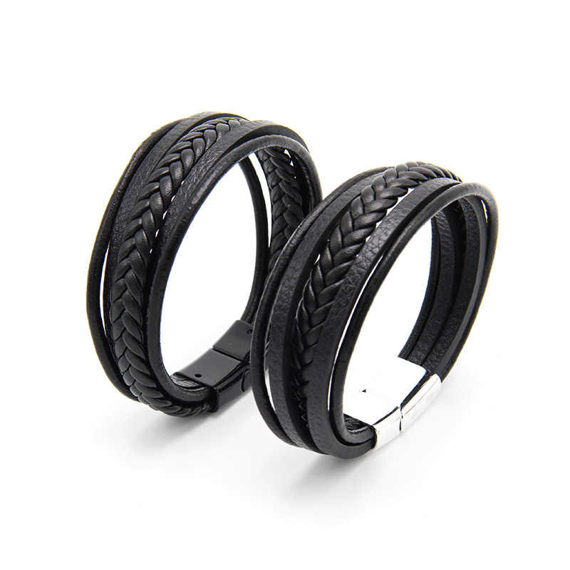 Men's Leather Bangle Men's Leather Bracelet Magnetic-Clasp Cowhide Multi-layer Wrap Bracelet Men