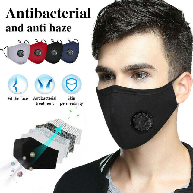 PM2.5 Valved Mask Dust Respirator Mask Washable Reusable Face Masks Cotton Unisex Mouth Mask Muffle + 2pc Filter Air Pads 1