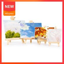 Mini Canvas And Natural Wood Easel Set For Art Painting Drawing Wedding Educational For Children Supply Toys Craft Q1L1