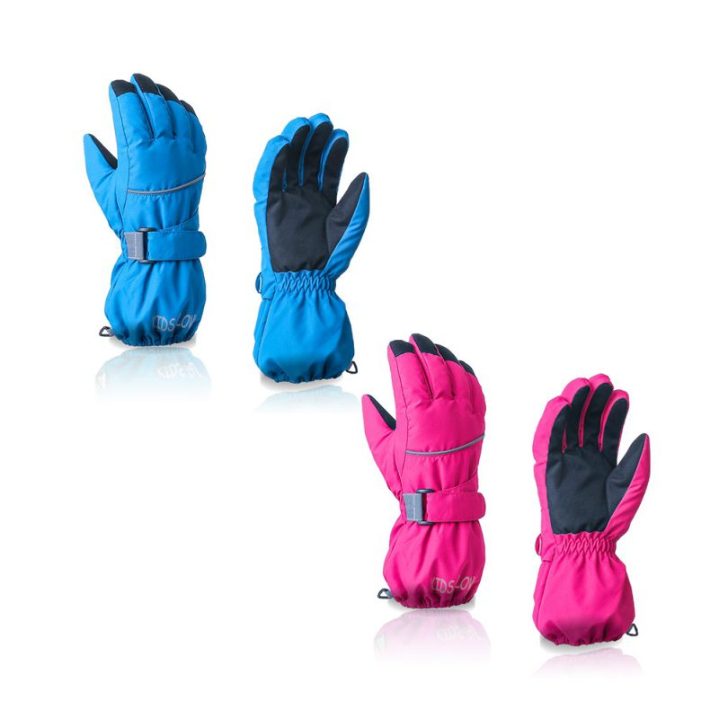 Children Winter Warm Ski Gloves Sports Waterproof Windproof Snow Mitten Adjustable Ski Strap Skiing Gloves