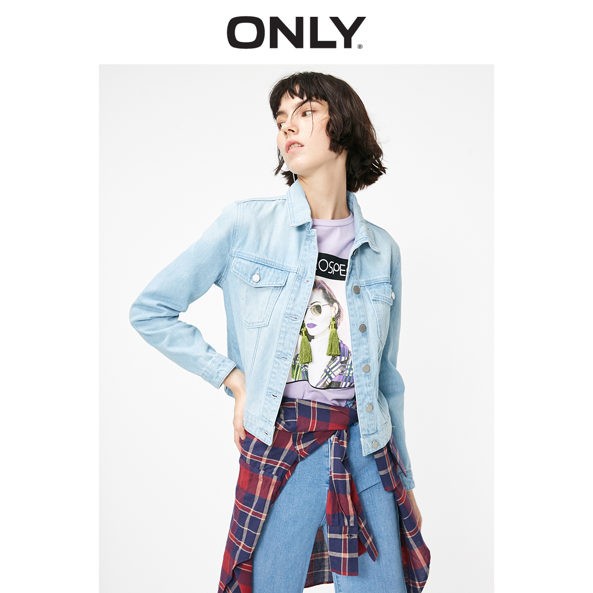 ONLY Women's Loose Fit Washed Short Denim Jacket | 119154520