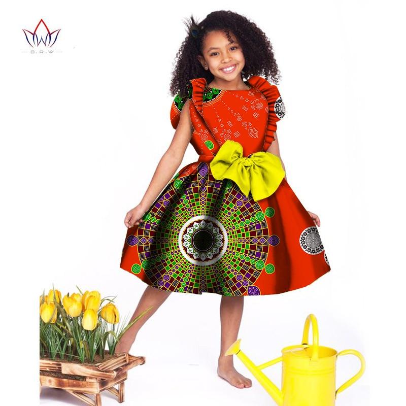 2020 Kids Dashiki Traditional Cotton Dresses Matching Girls African Dress O-neck Kids African Clothing Short Sleeve WYT027