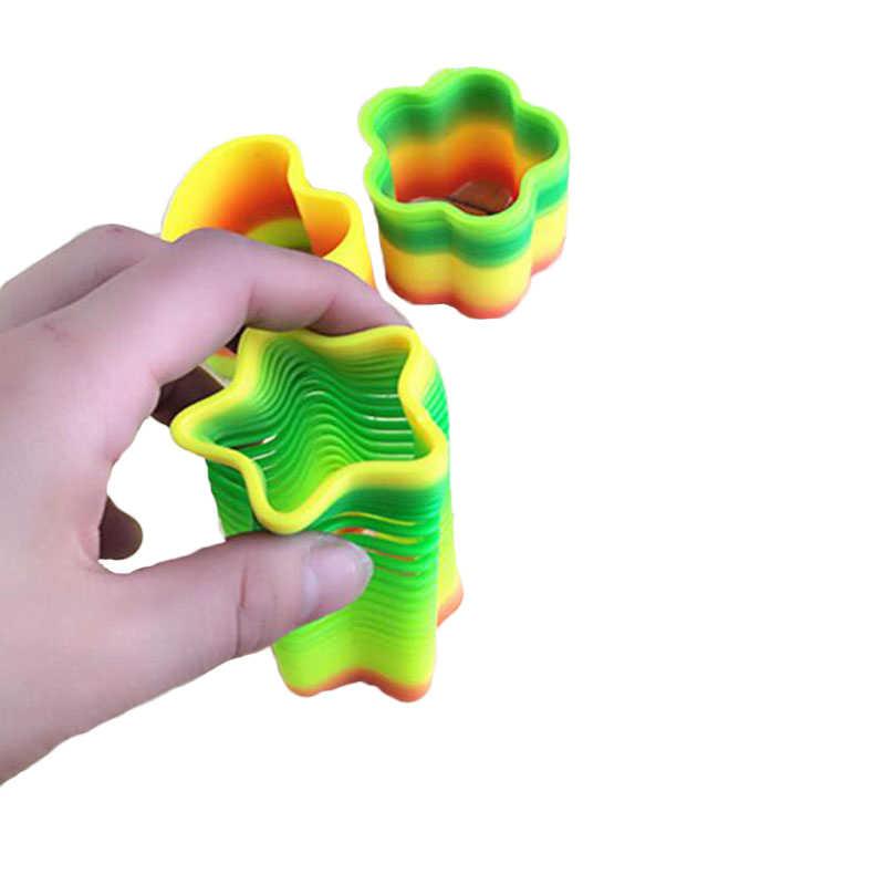 Sihirli sıçrama oyuncaklar kurulu çocuklar oyunları anti-stres sihirli halka bahar gökkuşağı kurulu oyunu çocuklar komik hediyeler
