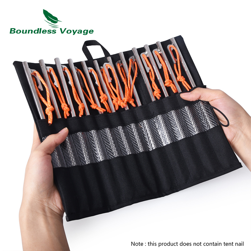 Boundless Voyage Tent Stakes Bag Cutlery Storage Bag Outdoor Camping Tent Pegs Nails Drawstring Storage Travel Stuff Sack