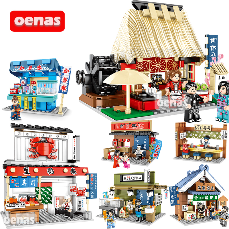 Compatible Legoing City Architecture Japanese Street Food Sushi Takoyaki Ramen Shop Tea House Model Building Block Bricks Toys