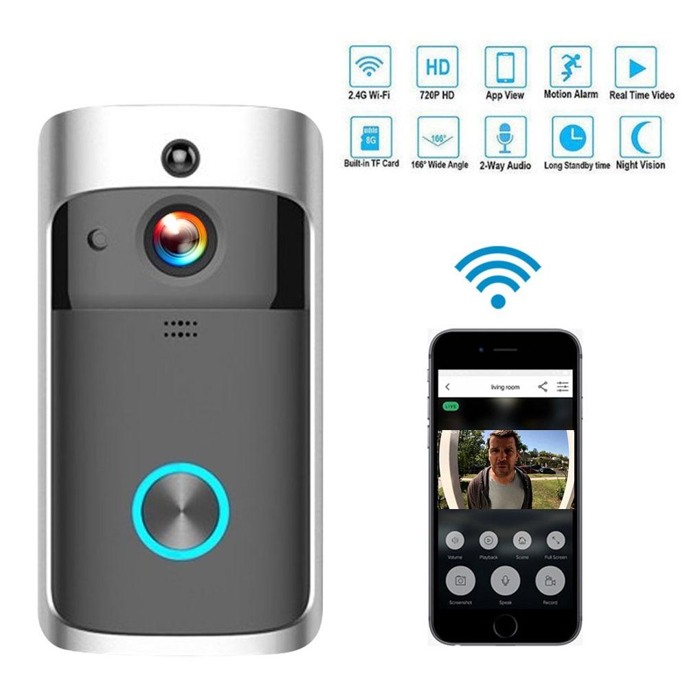 Умный wifi дверной Звонок камера IP видео домофон видео дверной звонок для квартиры ИК сигнализация беспроводная камера безопасности - Цвет: Black