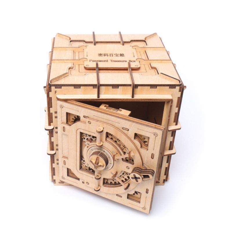 3D Puzzles Wooden Password Treasure Box Mechanical Puzzle DIY Assembled Model Complex Mechanical Password Treasure Box Model