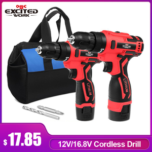 12V 16.8V Cordless Drill Electric Screwdriver 3/8-Inch Mini Wireless Power Driver Tool Set Battery With Drill Bit By EXCITEDWORK