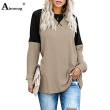 Women Autumn Patchwork Color Tops England Style Long Sleeve O-Neck T-Shirt Casual Loose Ladies Tee Shirt Oversized 3xl Femme