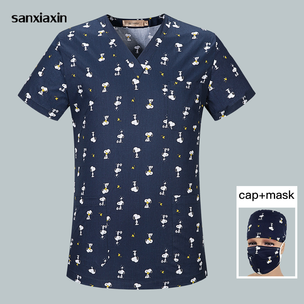 V-Neck Cotton Breathable Medical Tops Printing Surgical Uniform Nursing Scrub Top Pet Hospital Doctor Surgery Tops Women And Men