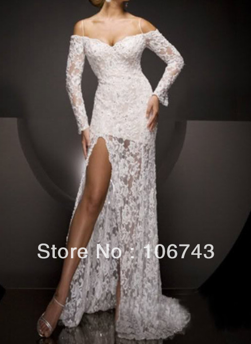 Free Shipping 2019 Fashion New Brides Maid Open Leg Lace Prom White Long Sleeves Evening Gown Mother Of The Bride Dresses