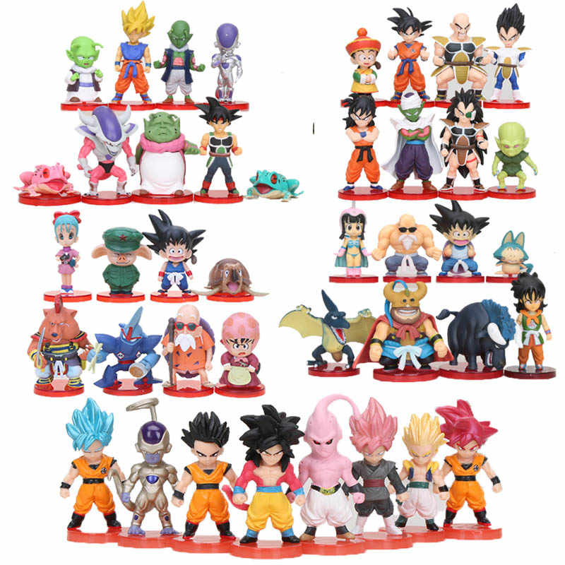 8 pçs/set Anime Dragon Ball Z Goku chichi WCF Gohan Piccolo Vegeta Raditz Nappa Dragonball Freeza PVC Action Figure Toy Modelo
