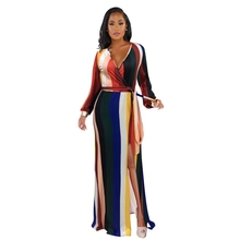LOOZYKIT 2019 Rainbow Beach Long Dresses Women Casual Elegant Sleeve Autumn Sexy Office Ladies Stripe Print Female Dress