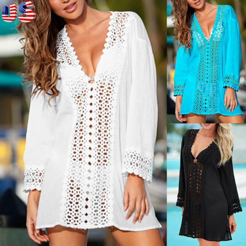 Women Cover Up Lace Hollow Crochet Swimsuit Beach Dress Women 2020 Summer Ladies Cover-Ups Bathing Suit Beach Wear Tunic Dress