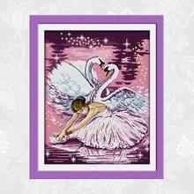 Joy sunday dance of the swan printed on fabric cross stitch
