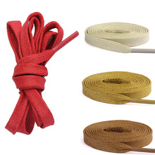 Hot 7mm Width Flat Waxed Shoelaces Wide Colored Cotton Shoe Laces Waterproof Unisex Strings Cord For Leather Boots