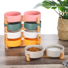 Dog-Bowl-Dish Ceramic Cat Wood-Stand Food-Water-Feeder Dogs Cats Small with No-Spill-Pet