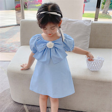 Toddler Baby girl  French dress 2021 Bow Middle and small children Princess dress Western style child summer skir 80 130cm