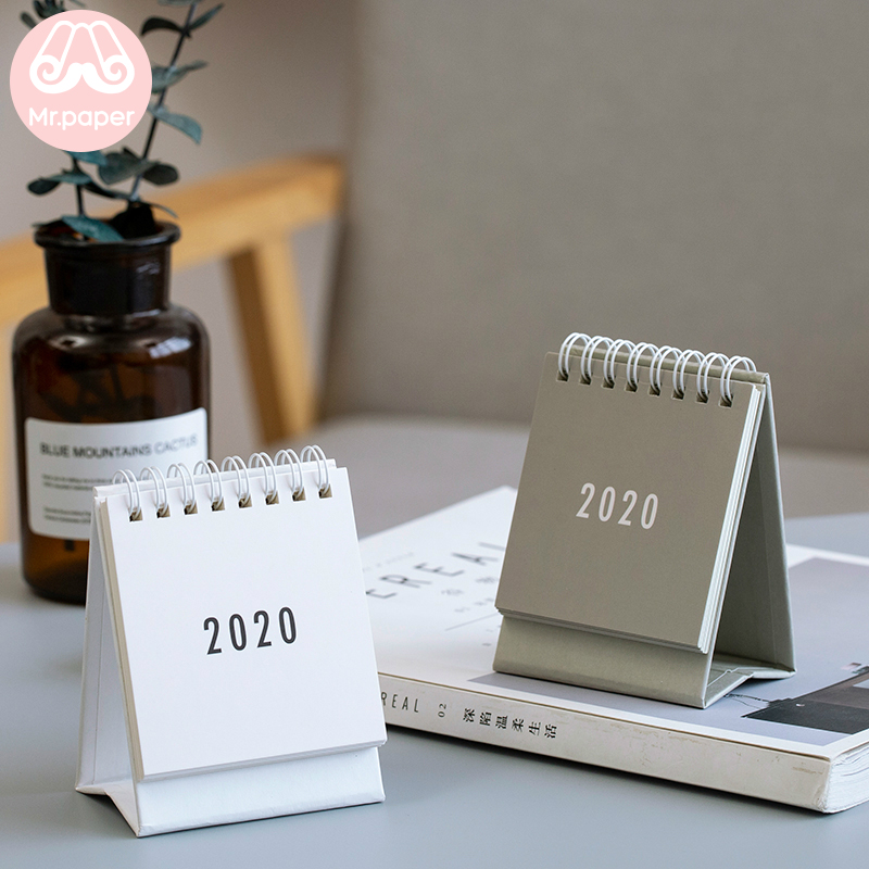 Mr Paper 2020 Minimalist White Black Grey Mini Desktop Paper Calendars Daily Scheduler Table Planner Yearly Agenda Calendars