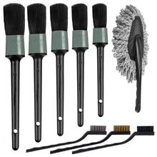 9 adet otomatik araba detaylandırma fırça seti araba iç temizlik kiti içerir 5 detay fırçaları, 3 tel fırça, 1 araba silgi fırçası