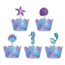 40Pcs Mermaid Pesta Shell Bintang Laut Rumput Laut Cupcake Toppers Wrapper Kue Kotak Dekorasi Pesta Ulang Tahun Baby Shower Persediaan Ww43(China)