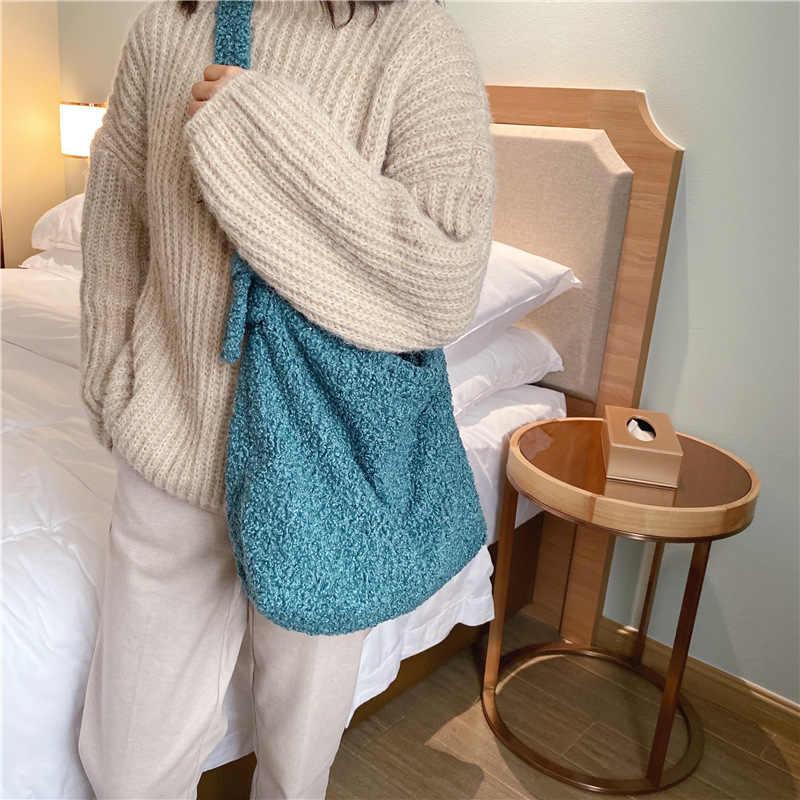 Sacos de ombro de pele do falso para as mulheres auntumn inverno quente crossbody messenger bag feminino ins grande capacidade cor sólida tote