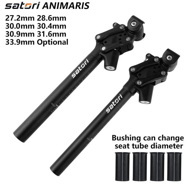 Satori bicicleta de amortecimento selim mountain bike seat post 27.2/28.6/30.0/30.4/30.9/33.9/31.6mm * 350mm forjamento/al6061 selim preto