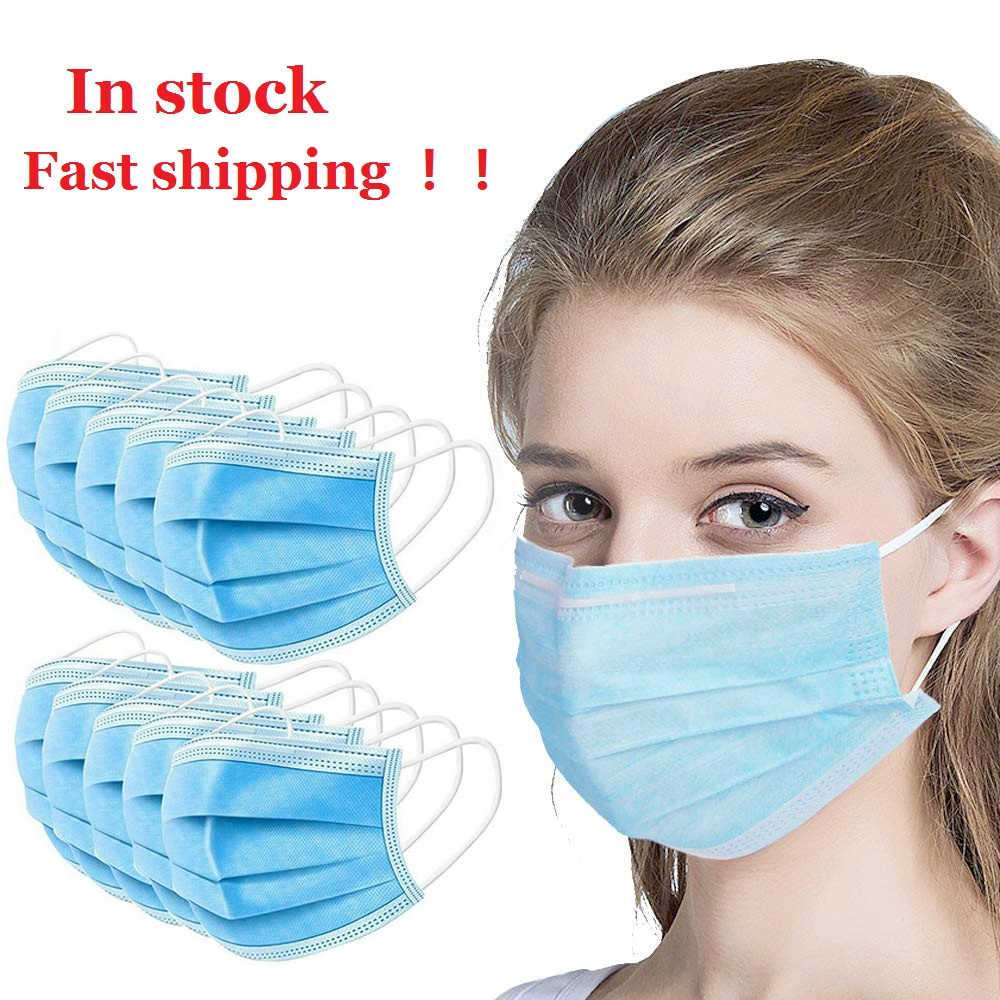 Disposable 3-Layers Non-woven Mouth Face Masks Hypoallergenic Anti-Dust Anti-bacterial Earloop Mask Dropship