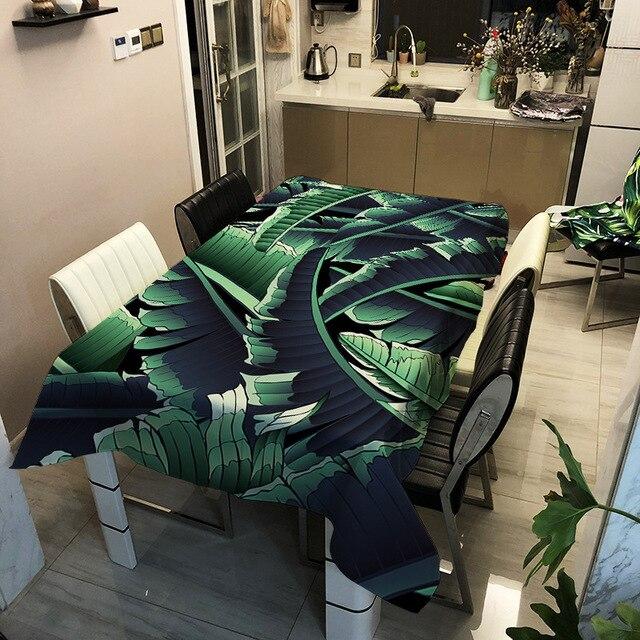 Nappe de Table rectangulaire imperméable   Plante verte, tissu en Fiber de Polyester, impression rectangulaire, nappe de Table, nappe à thé