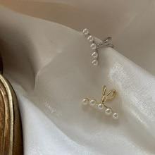 Ear-Clips Pearl No-Piercing MENGJIQIAO Cartilage Ear Jewelry Fake Elegant Women Students