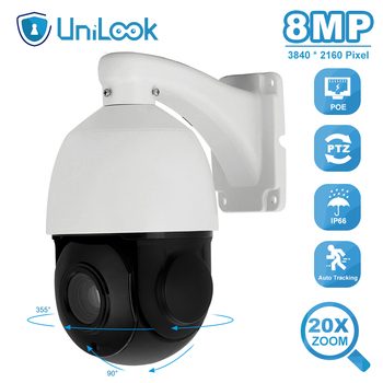 UniLook 4K 8MP PTZ POE IP Camera Support 20X Zoom One way Audio Outdoor CCTV Security PTZ Camera IR 80m ONVIF H.265 P2P View 100% original 6mp dahua ip camera english firmware ir 80m h 265 ipc hfw4631m i2 ir cut hd1080p support poe dh ipc hfw4631m i2