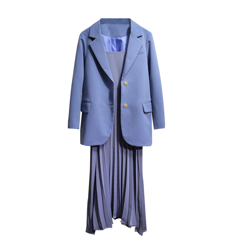 Temperament Lady Suits Dress Sets 19 New Elegant Full Sleeve Pink Jacket Casual Pleated Strap Dress Two-piece Suit High Quality