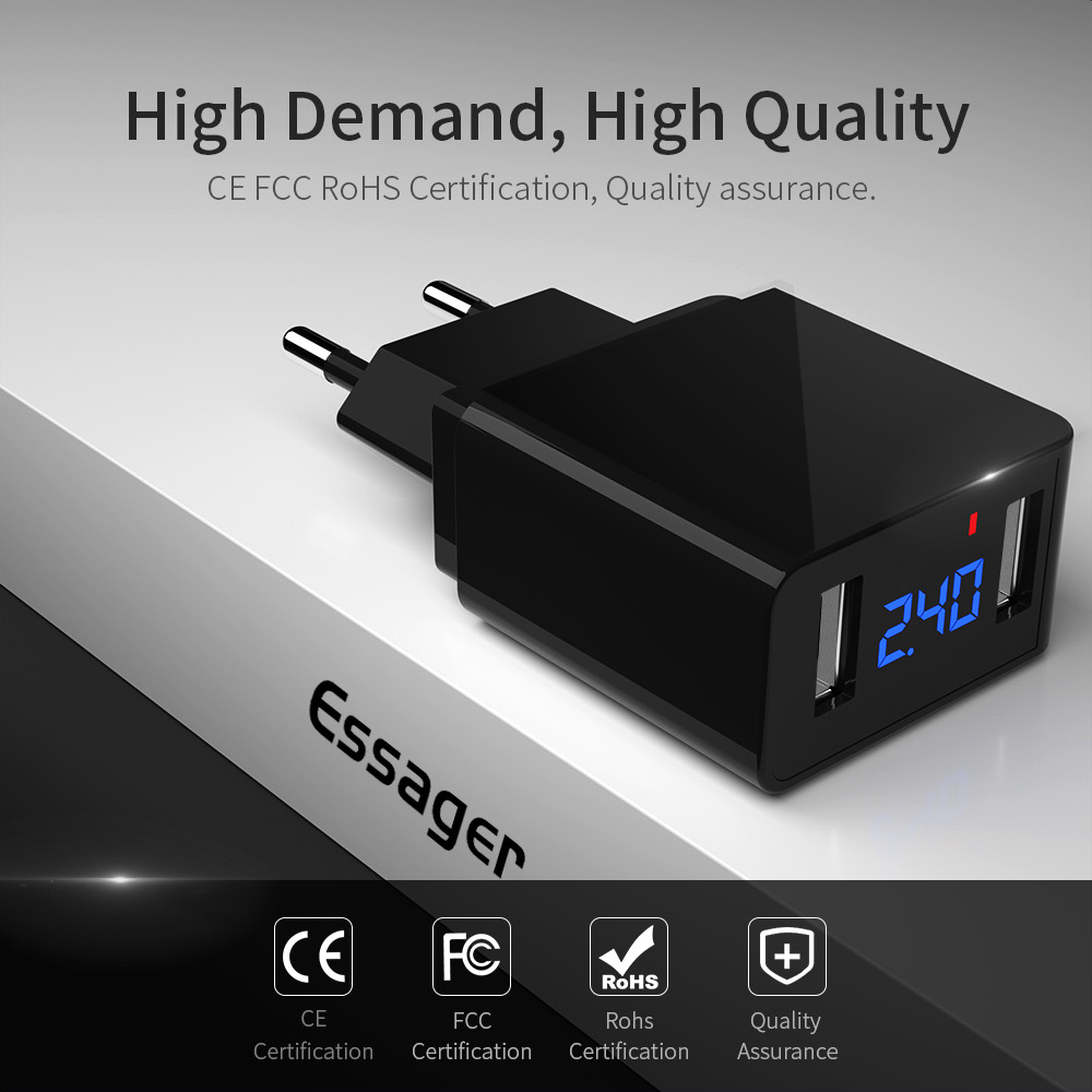 Essager Mobile-Phone-Charger IPhone Xiaomi Usb-Adapter Led-Display Samsung 2
