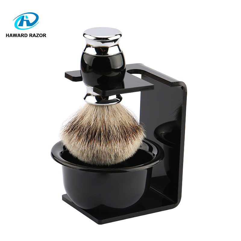 HAWARD Razor Set Badger Hair Shaving Brush + Black Shaving Brush Holder + Shaving Soap Bowls Men's Household Shaving Care Set