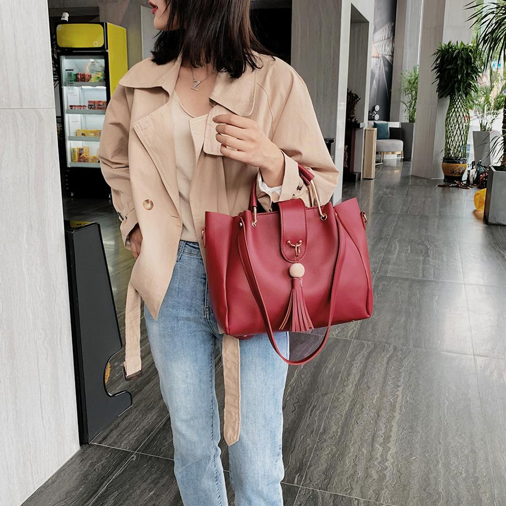 3Pcs Women Handbags Set Leather Shoulder Bags Large Capacity Casual Tote Bag Lady Leather Tassel Crossbody Bag Tote Dropshipping