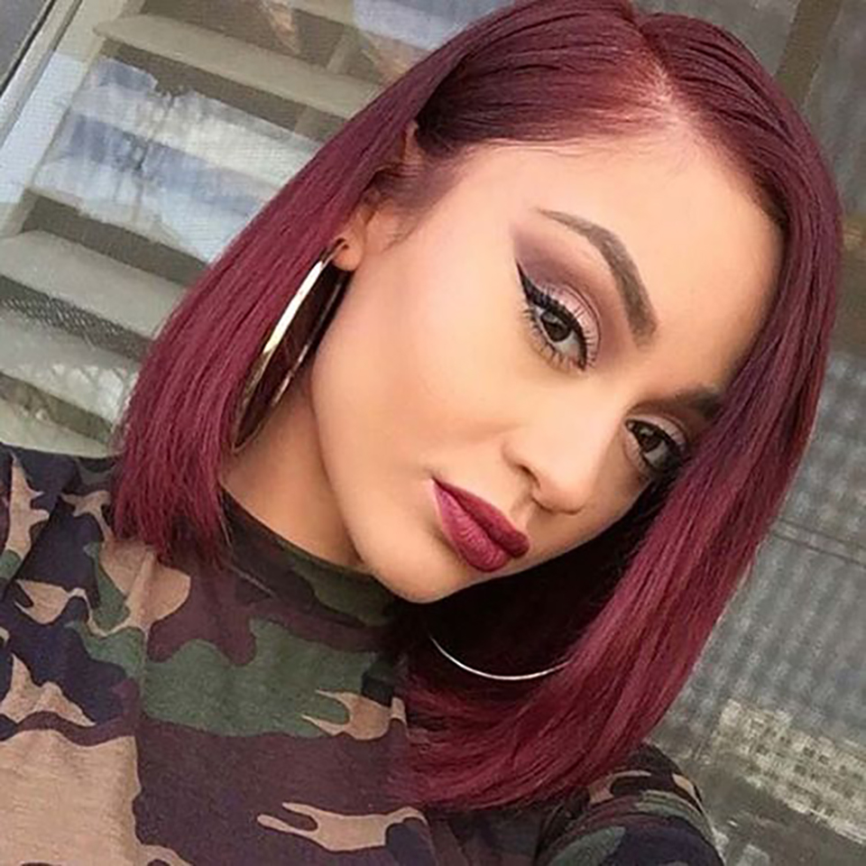 Bug Red Straight Wave Lace Front Wigs  Short Lace Frontal Wig 13X4 Lace Closure  Bob Wig  Black Women Hair Wig 2