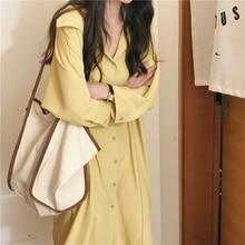 Chic Korean Shirt Dress Women Spring Autumn Loose long Ladies Dresses Plus Size vintage sleeve vestidos mujer