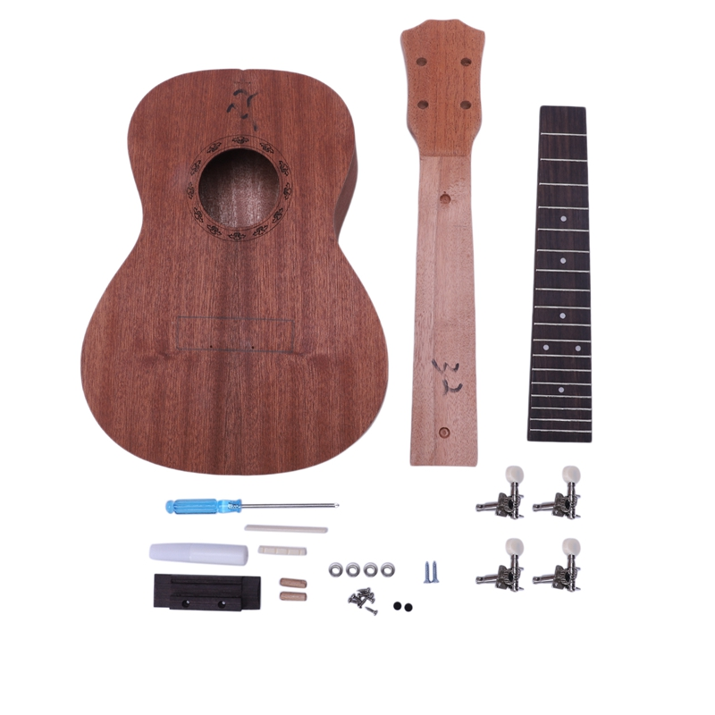 Concert Ukulele Diy Kit 23 Inch Mahogany 4 Strings Hawaiian Guitar For Handwork Painting Perfect Parents-Child Campaign