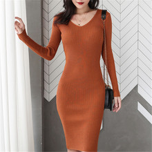 Fashion Autumn Sweater Dress Women Knitted Sweaters Dresses Elegant Woman V Neck Stretch OL