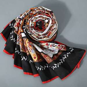 Image 4 - Women Vintage Square Silk Shawl Luxury Brand Symmetrical Scarf 130*130cm Shawls Stole Large Pattern Twill Shawl Wholesale