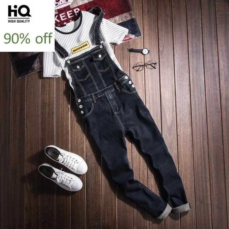New 2020 Fashion Casual Wash Skinny Overalls Jeans Pants Men Vintage Design Pocket Jeans Denim Overalls Male Blue Jumpsuit Jeans