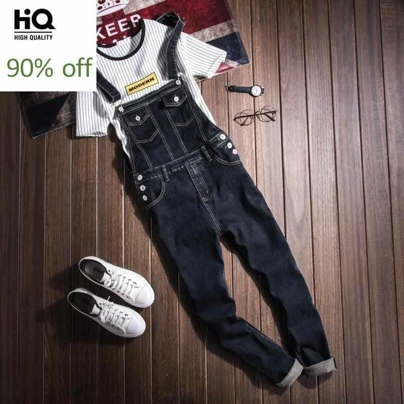 Nieuwe 2020 Fashion Casual Wassen Skinny Overalls Jeans Broek Mannen Vintage Design Pocket Jeans Denim Overalls Mannelijke Blauwe Jumpsuit Jeans