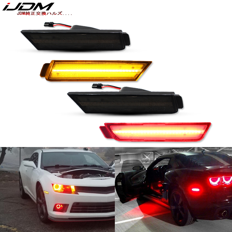 IJDM автомобильные передние и задние боковые габаритные огни, янтарные/белые, красные для 2010-2015 Chevy Camaro передний бампер, Светодиодный Маркер ...